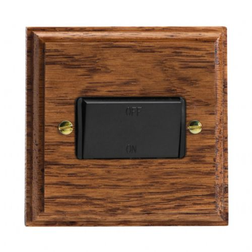 Varilight XKFIMOB Kilnwood Medium Oak 1 Gang 10A Fan Isolating Switch (3 Pole)